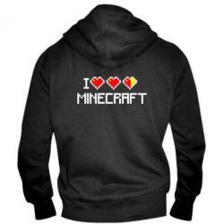 Мужская толстовка на молнии Я люблю Minecraft - FatLine