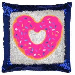 Подушка-хамелеон Я люблю пончик