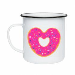 Кружка эмалированная Я люблю пончик