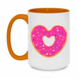 Кружка двухцветная 420ml Я люблю пончик