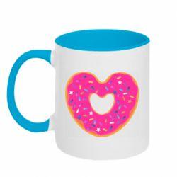 Кружка двухцветная 320ml Я люблю пончик