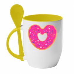 Кружка с керамической ложкой Я люблю пончик