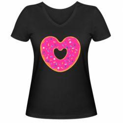 Женская футболка с V-образным вырезом Я люблю пончик