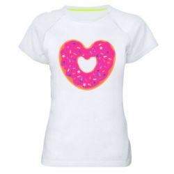 Женская спортивная футболка Я люблю пончик