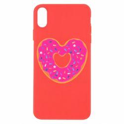Чехол для iPhone X/Xs Я люблю пончик