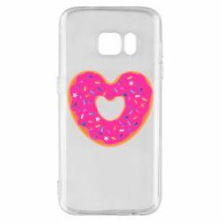Чехол для Samsung S7 Я люблю пончик