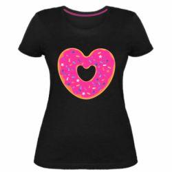 Женская стрейчевая футболка Я люблю пончик