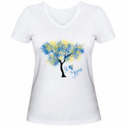 Жіноча футболка з V-подібним вирізом Я люблю Україну і дерево