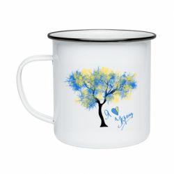 Кружка емальована Я люблю Україну і дерево