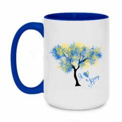 Кружка двоколірна 420ml Я люблю Україну і дерево
