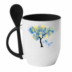 Кружка з керамічною ложкою Я люблю Україну і дерево