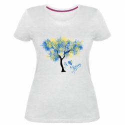 Жіноча стрейчева футболка Я люблю Україну і дерево