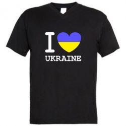 Мужская футболка  с V-образным вырезом Я люблю Україну - FatLine