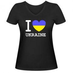 Женская футболка с V-образным вырезом Я люблю Україну - FatLine