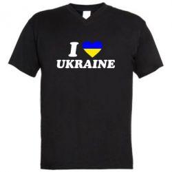 Мужская футболка  с V-образным вырезом Я люблю Украину - FatLine