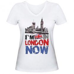 Женская футболка с V-образным вырезом Я сейчас в Лондоне!