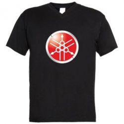 Мужская футболка  с V-образным вырезом Yamaha Logo 3D - FatLine