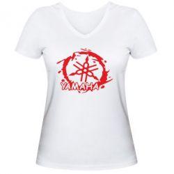 Женская футболка с V-образным вырезом Yamaha Moto