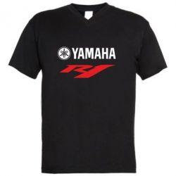 Мужская футболка  с V-образным вырезом Yamaha R1 - FatLine