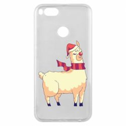 Чехол для Xiaomi Mi A1 Yellow llama in a scarf and red nose