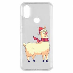 Чехол для Xiaomi Mi A2 Yellow llama in a scarf and red nose