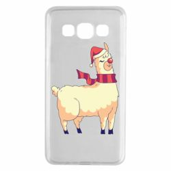 Чехол для Samsung A3 2015 Yellow llama in a scarf and red nose