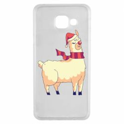 Чехол для Samsung A3 2016 Yellow llama in a scarf and red nose