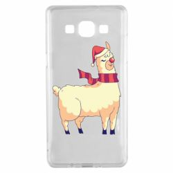 Чехол для Samsung A5 2015 Yellow llama in a scarf and red nose