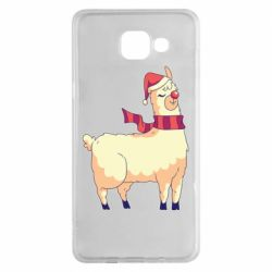 Чехол для Samsung A5 2016 Yellow llama in a scarf and red nose