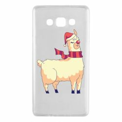 Чехол для Samsung A7 2015 Yellow llama in a scarf and red nose