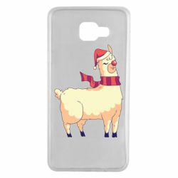 Чехол для Samsung A7 2016 Yellow llama in a scarf and red nose