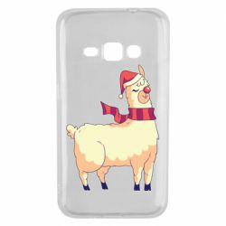 Чехол для Samsung J1 2016 Yellow llama in a scarf and red nose