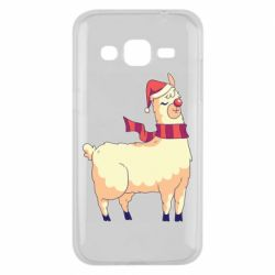 Чехол для Samsung J2 2015 Yellow llama in a scarf and red nose