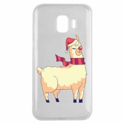 Чехол для Samsung J2 2018 Yellow llama in a scarf and red nose