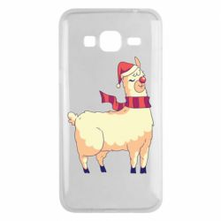Чехол для Samsung J3 2016 Yellow llama in a scarf and red nose