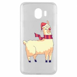 Чехол для Samsung J4 Yellow llama in a scarf and red nose
