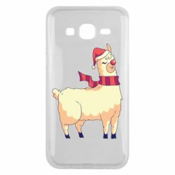 Чехол для Samsung J5 2015 Yellow llama in a scarf and red nose