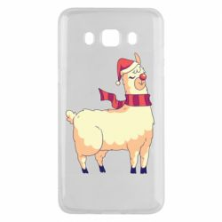 Чехол для Samsung J5 2016 Yellow llama in a scarf and red nose
