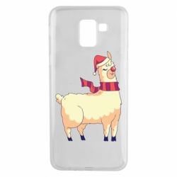 Чехол для Samsung J6 Yellow llama in a scarf and red nose