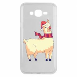 Чехол для Samsung J7 2015 Yellow llama in a scarf and red nose