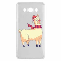 Чехол для Samsung J7 2016 Yellow llama in a scarf and red nose