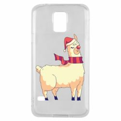 Чехол для Samsung S5 Yellow llama in a scarf and red nose