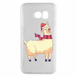 Чехол для Samsung S6 EDGE Yellow llama in a scarf and red nose