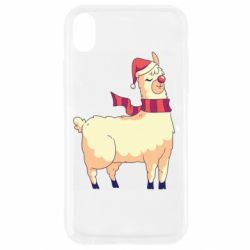 Чехол для iPhone XR Yellow llama in a scarf and red nose