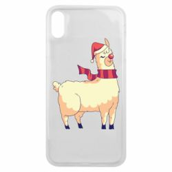 Чехол для iPhone Xs Max Yellow llama in a scarf and red nose