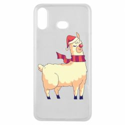 Чехол для Samsung A6s Yellow llama in a scarf and red nose