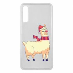 Чехол для Samsung A7 2018 Yellow llama in a scarf and red nose