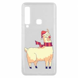 Чехол для Samsung A9 2018 Yellow llama in a scarf and red nose