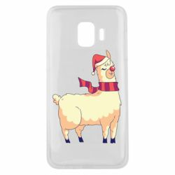 Чехол для Samsung J2 Core Yellow llama in a scarf and red nose