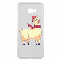 Чехол для Samsung J4 Plus 2018 Yellow llama in a scarf and red nose